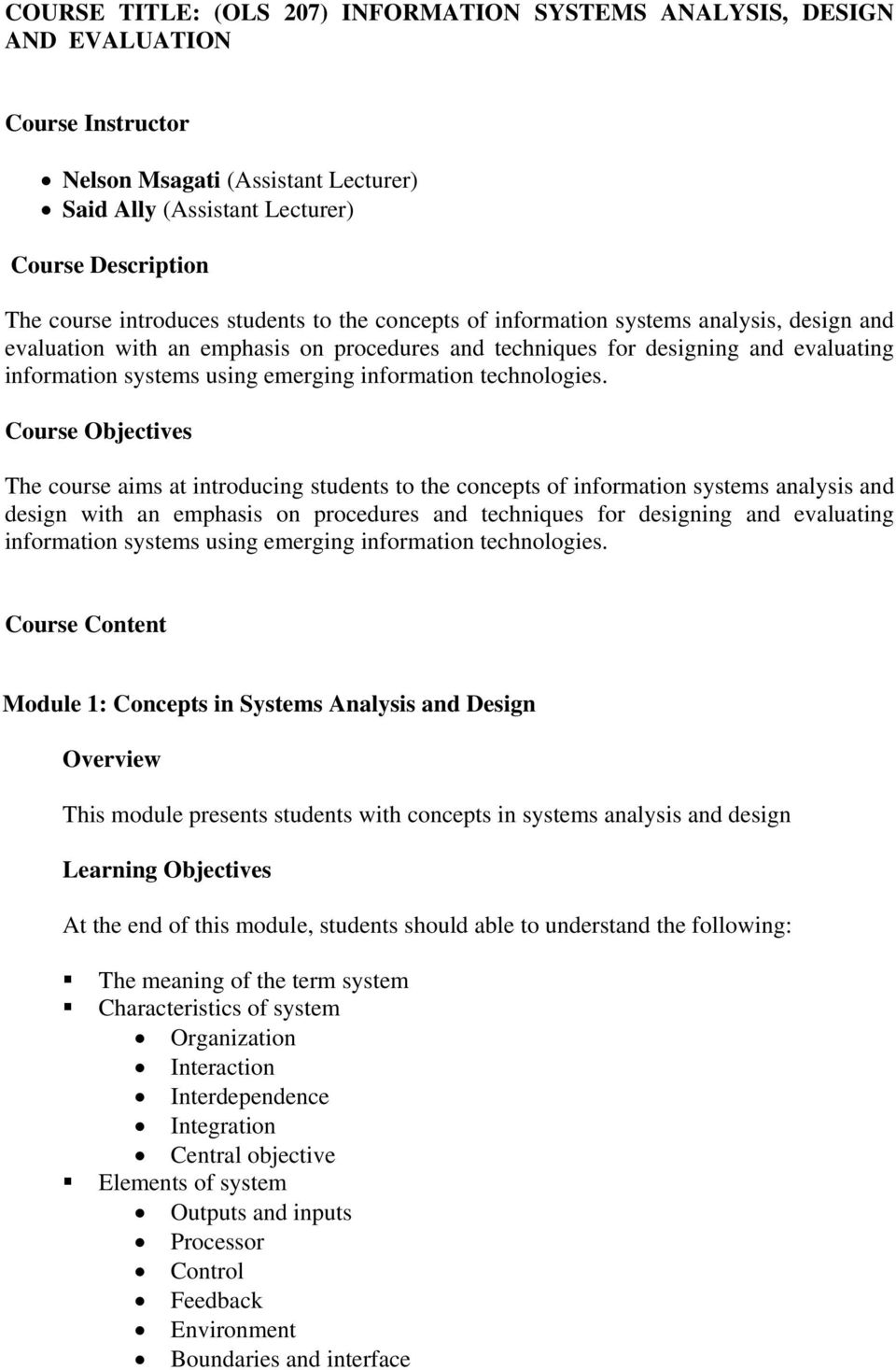 Course Title Ols 207 Information Systems Analysis Design And Evaluation Pdf Free Download