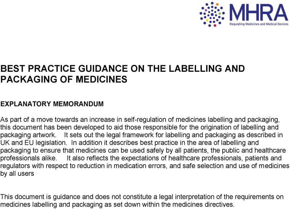 BEST PRACTICE GUIDANCE ON THE LABELLING AND PACKAGING OF