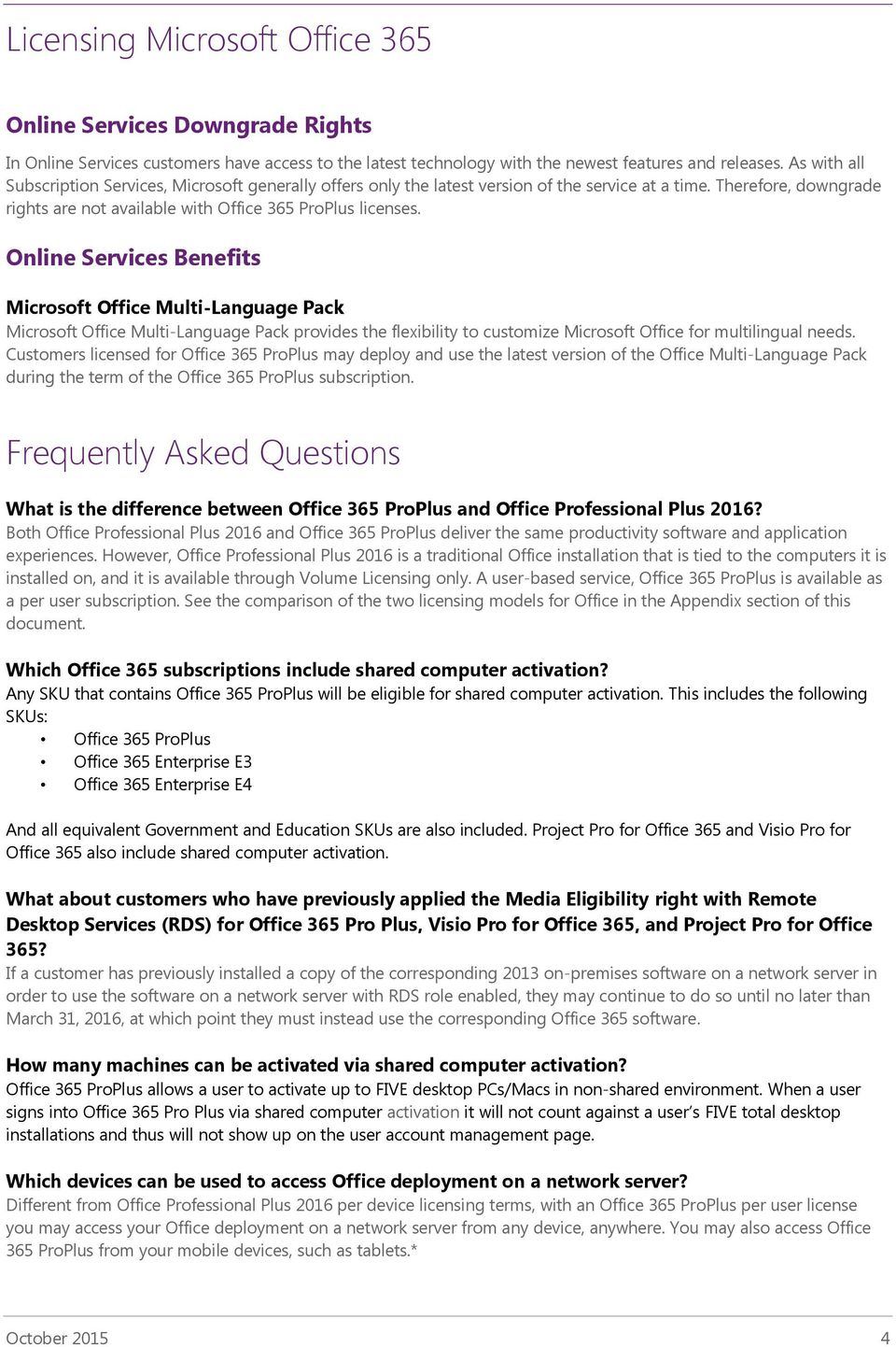 Licensing Microsoft Office 365 ProPlus Subscription Service