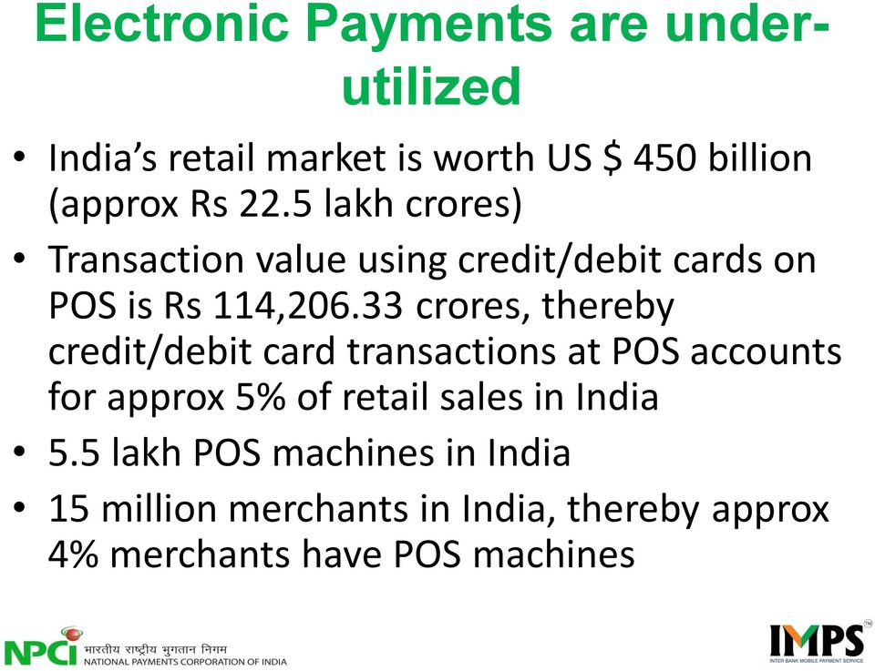 33 crores, thereby credit/debit card transactions at POS accounts for approx 5% of retail sales