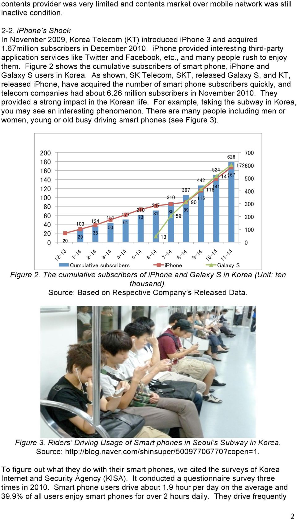 Figure 2 shows the cumulative subscribers of smart phone, iphone and Galaxy S users in Korea.