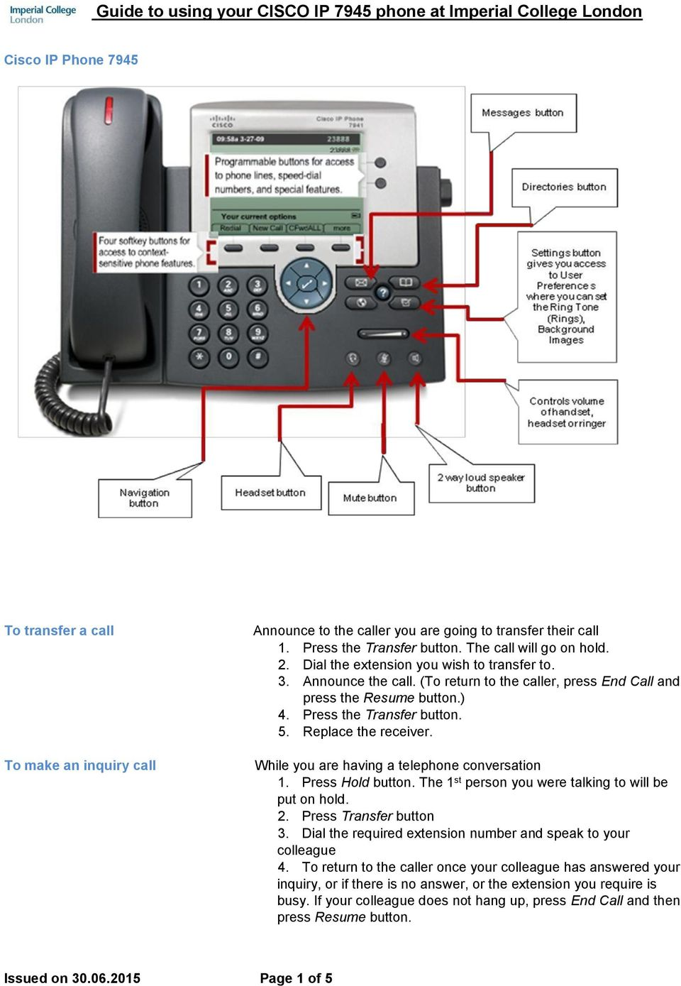 Guide to using your CISCO IP 7945 phone at Imperial College