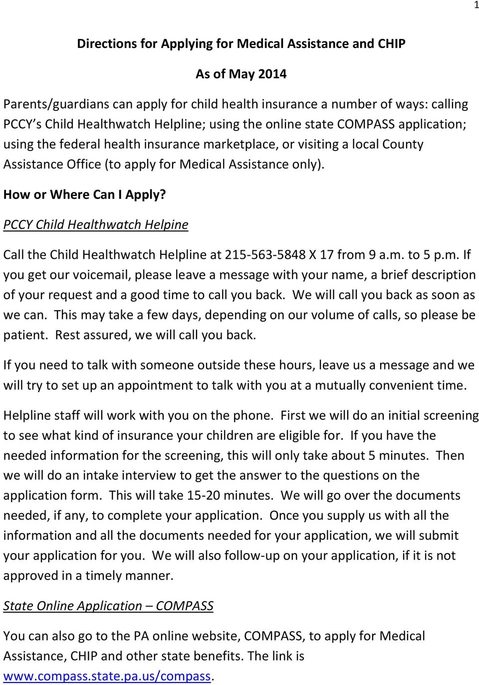 Directions for Applying for Medical Assistance and CHIP  As of May PDF