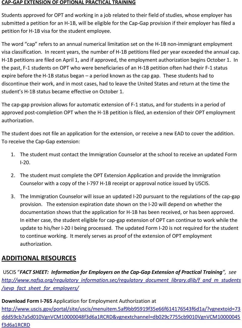 OPTIONAL PRACTICAL TRAINING APPLICATION AND INFORMATION - PDF