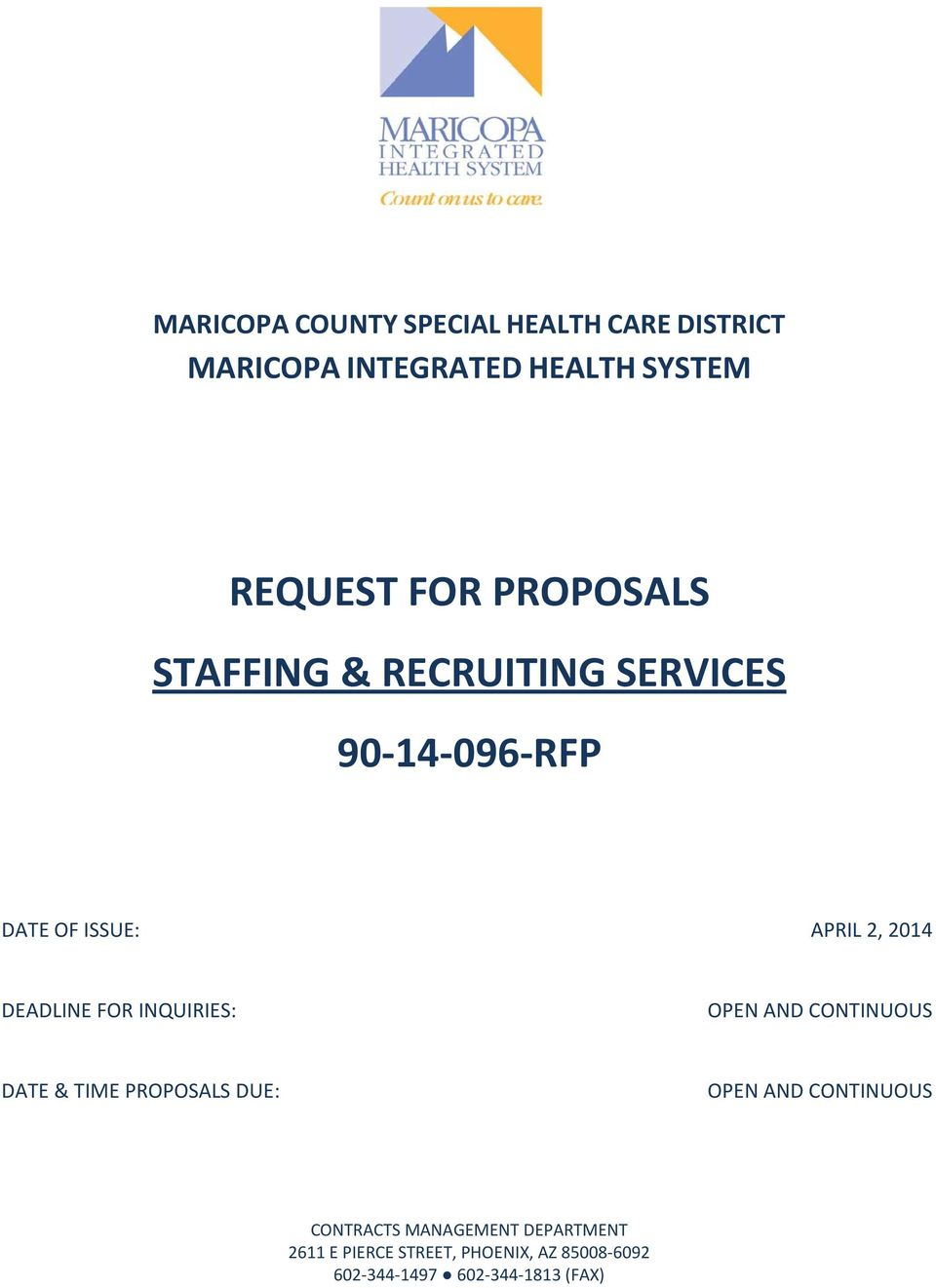 REQUEST FOR PROPOSALS STAFFING & RECRUITING SERVICES RFP - PDF