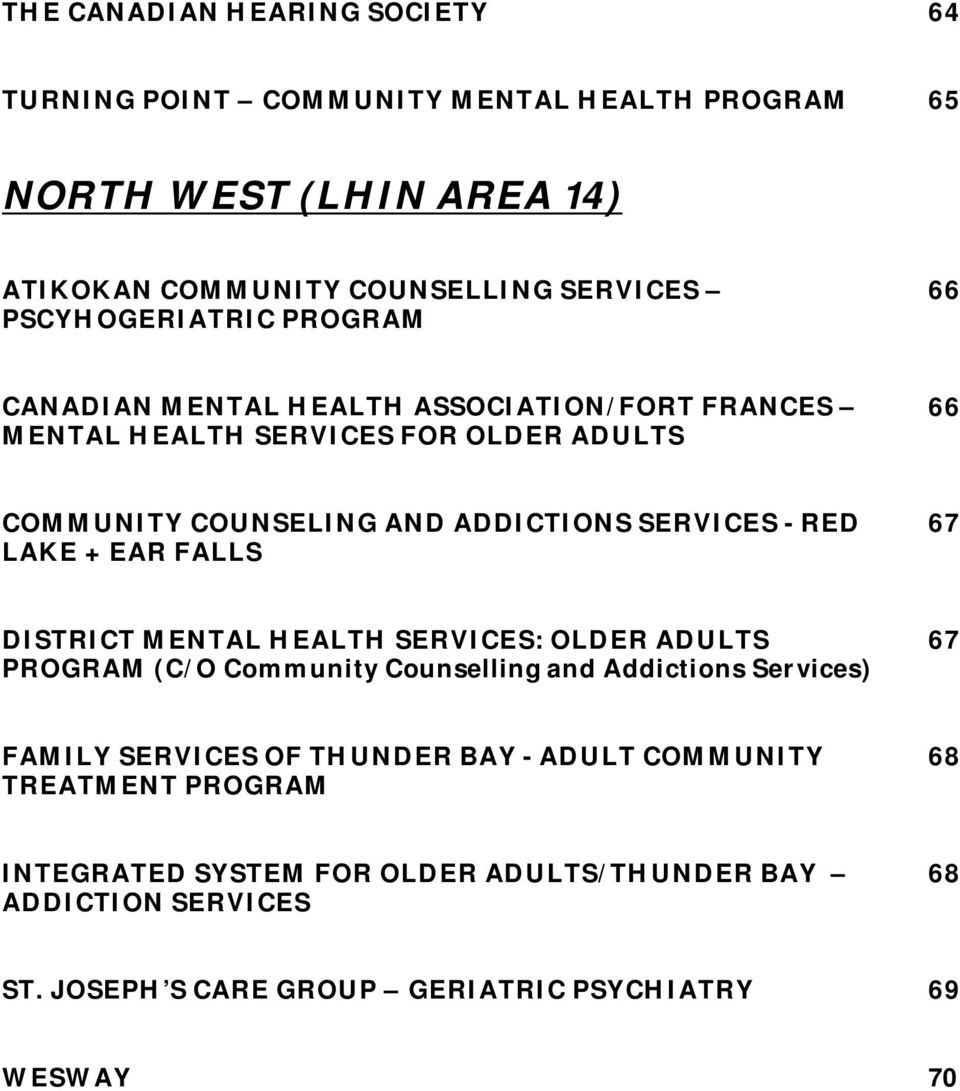 Directory Of Mental Health Addiction Services For Ontario S Older