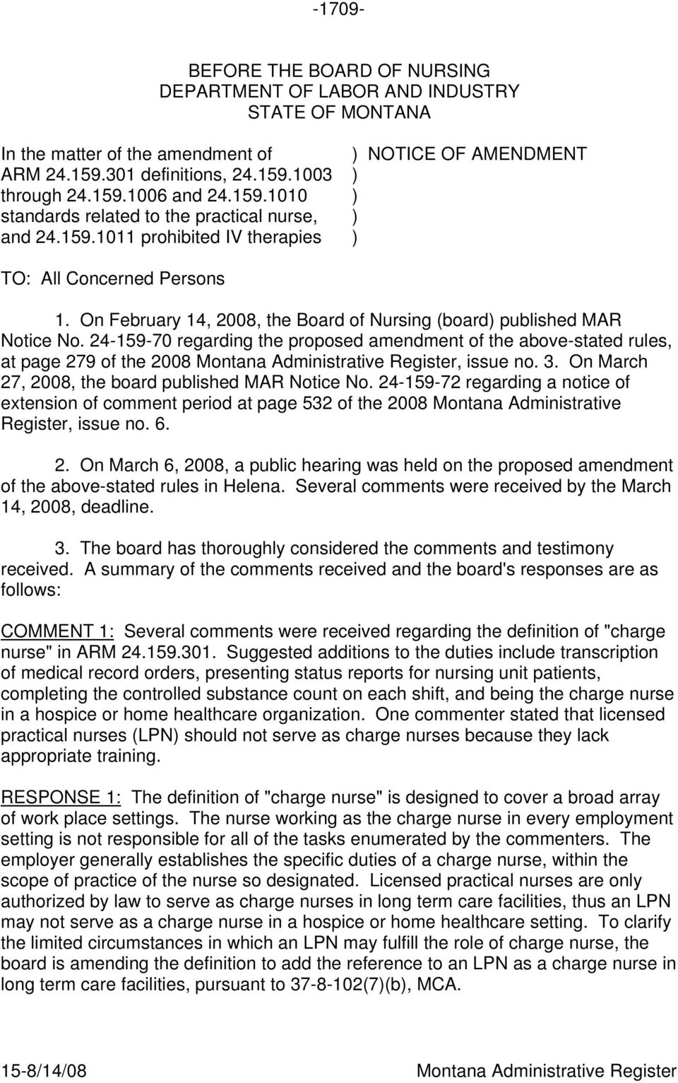 BEFORE THE BOARD OF NURSING DEPARTMENT OF LABOR AND INDUSTRY STATE OF  MONTANA - PDF Free Download