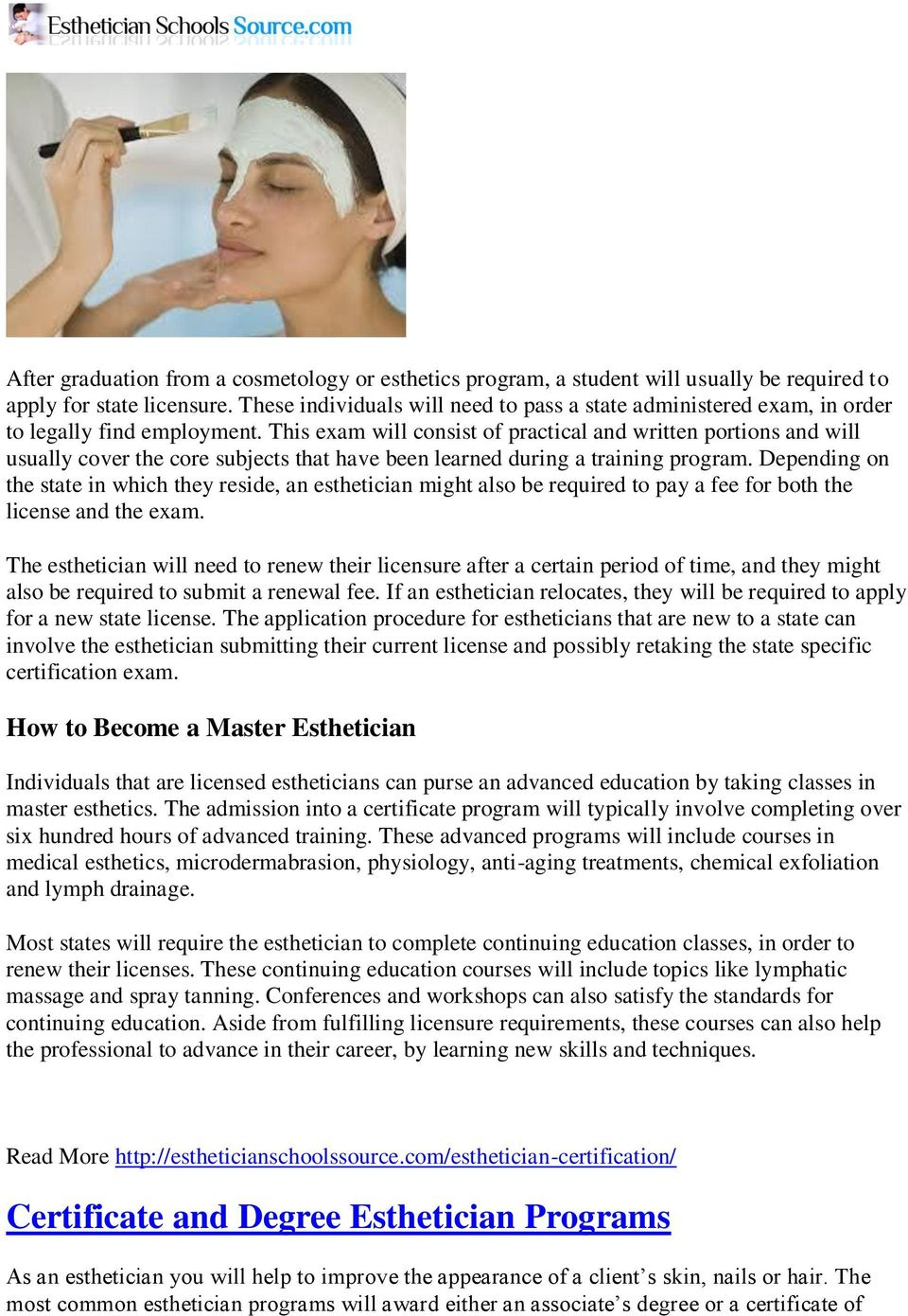 Esthetician Schools and Core Classes  Licensing and