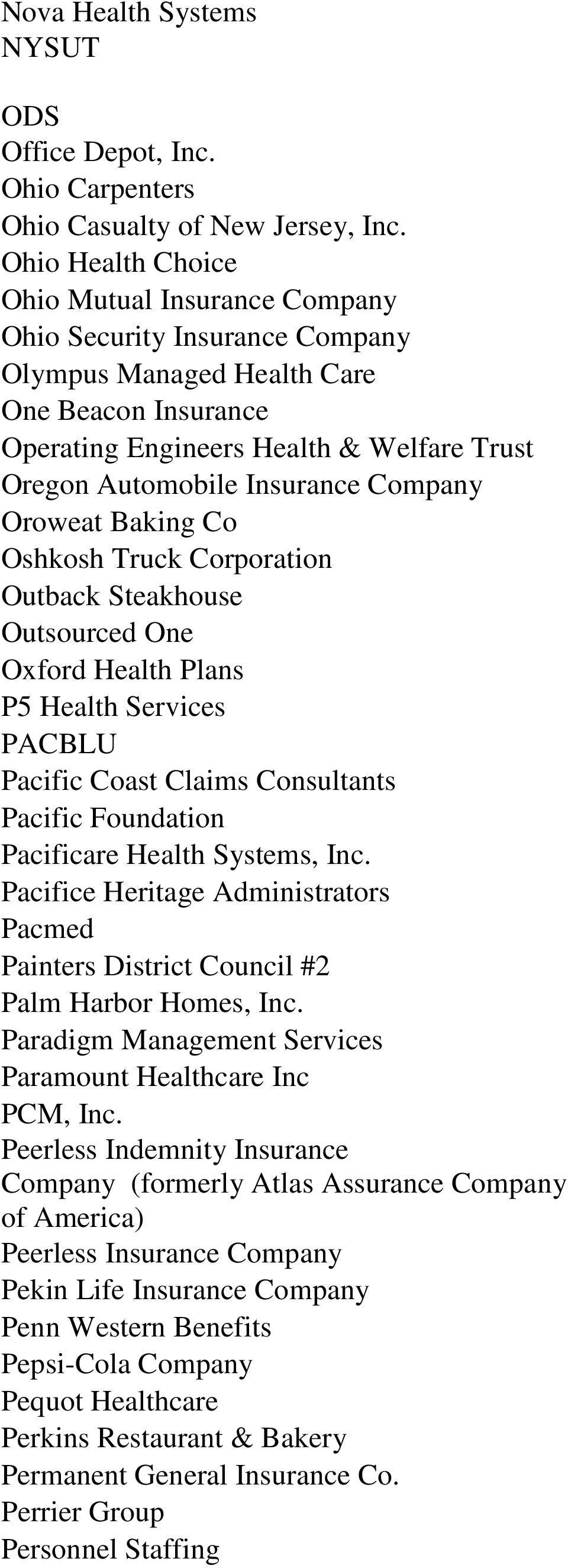 Three Rivers Provider Network National Client List - PDF