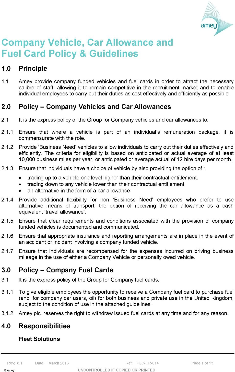 Company Vehicle, Car Allowance and Fuel Card Policy & Guidelines - PDF