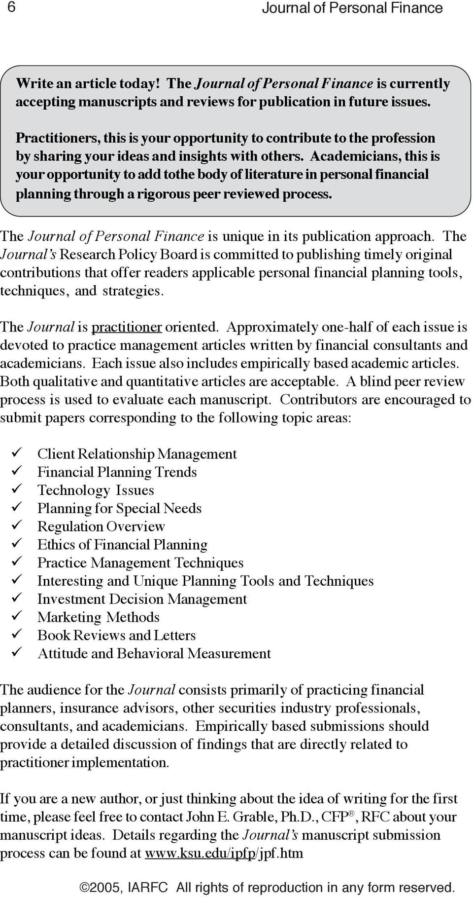 Journal of Personal Finance  Tools, Techniques, Strategies