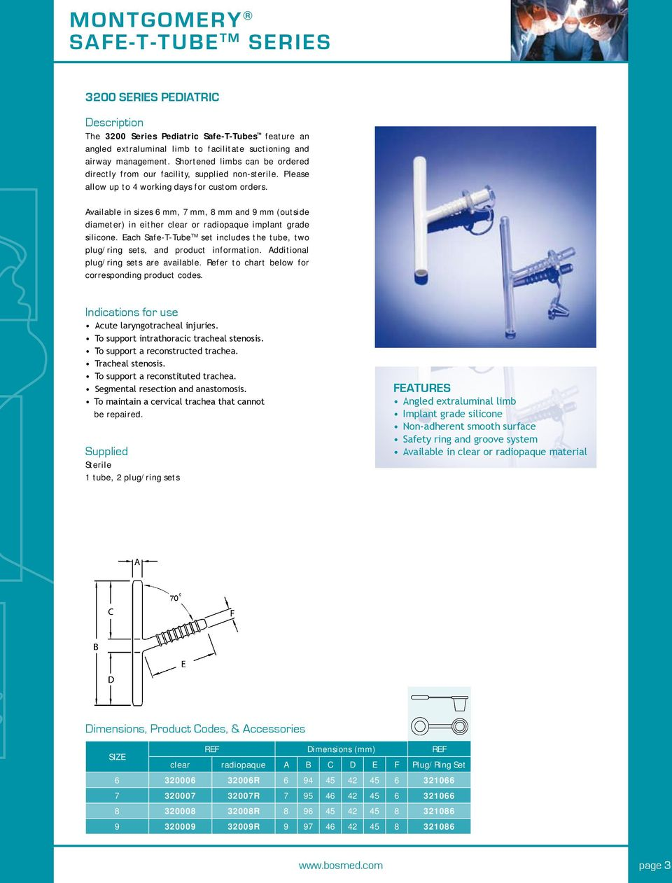 Boston Medical Products Montgomery Safe T Tube Tm Series Pdf