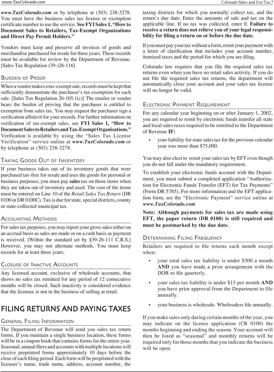 C Olorado Sales And Use Tax General Information And Reference Guide