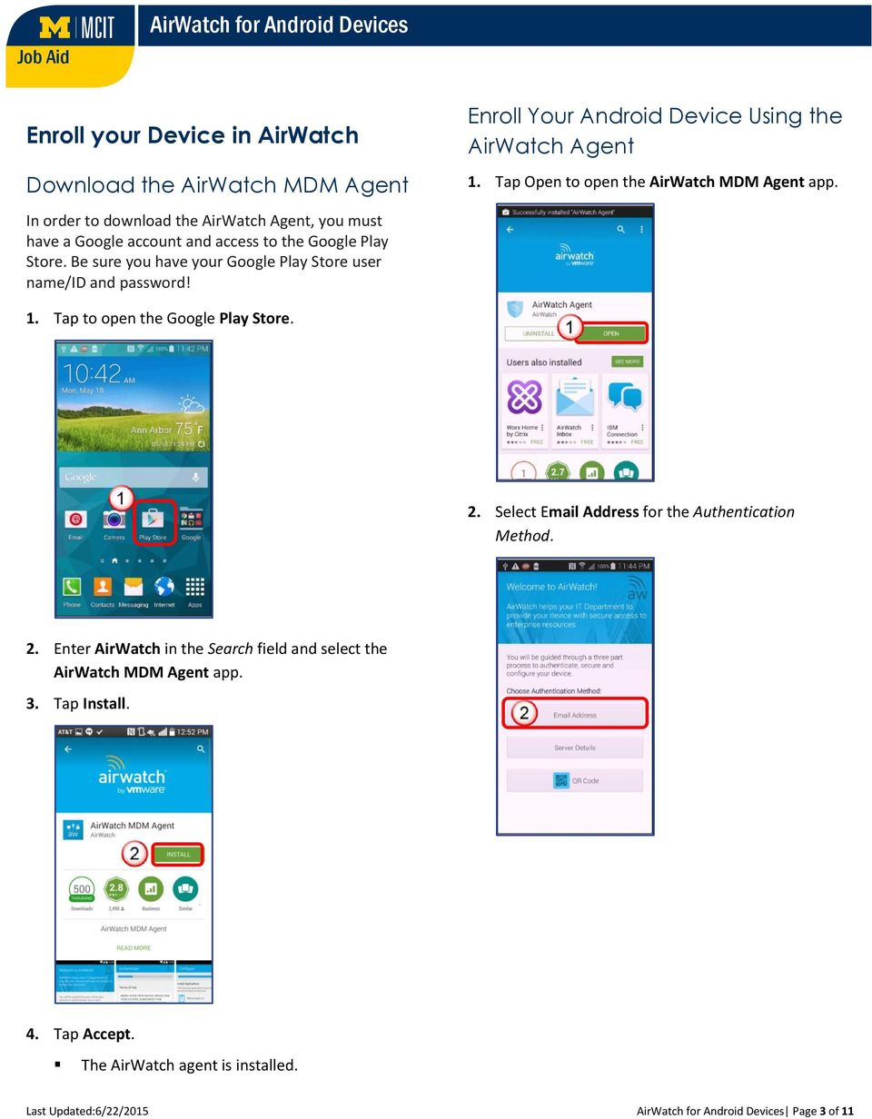 AirWatch for Android Devices - PDF