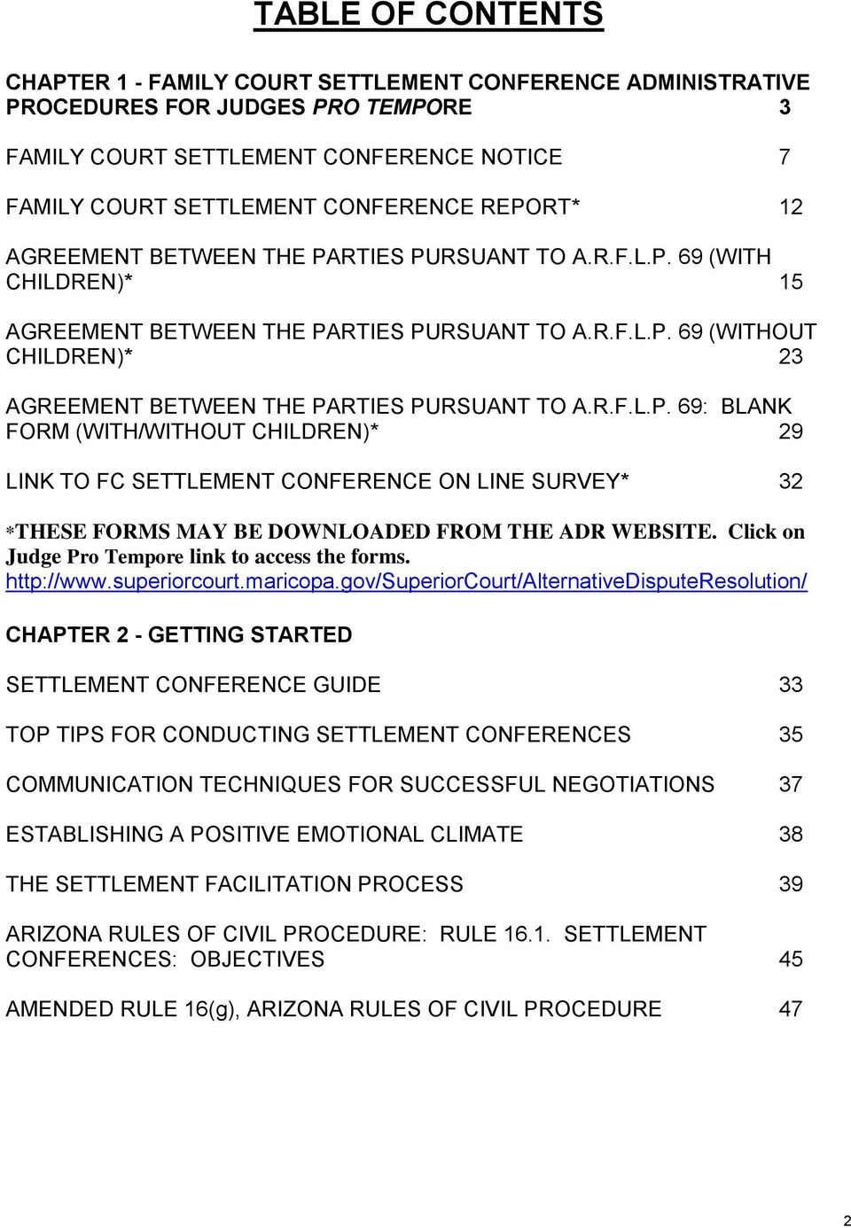 Family Court Settlement Conference Training Manual Pdf