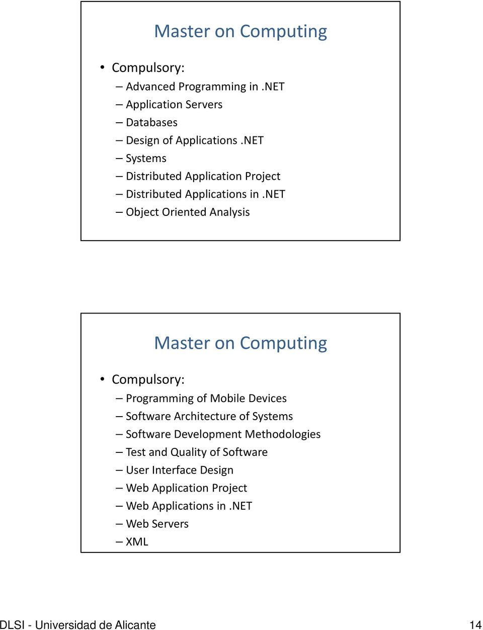 net Object Oriented Analysis Compulsory: Programming of Mobile Devices Software Architecture of Systems Software