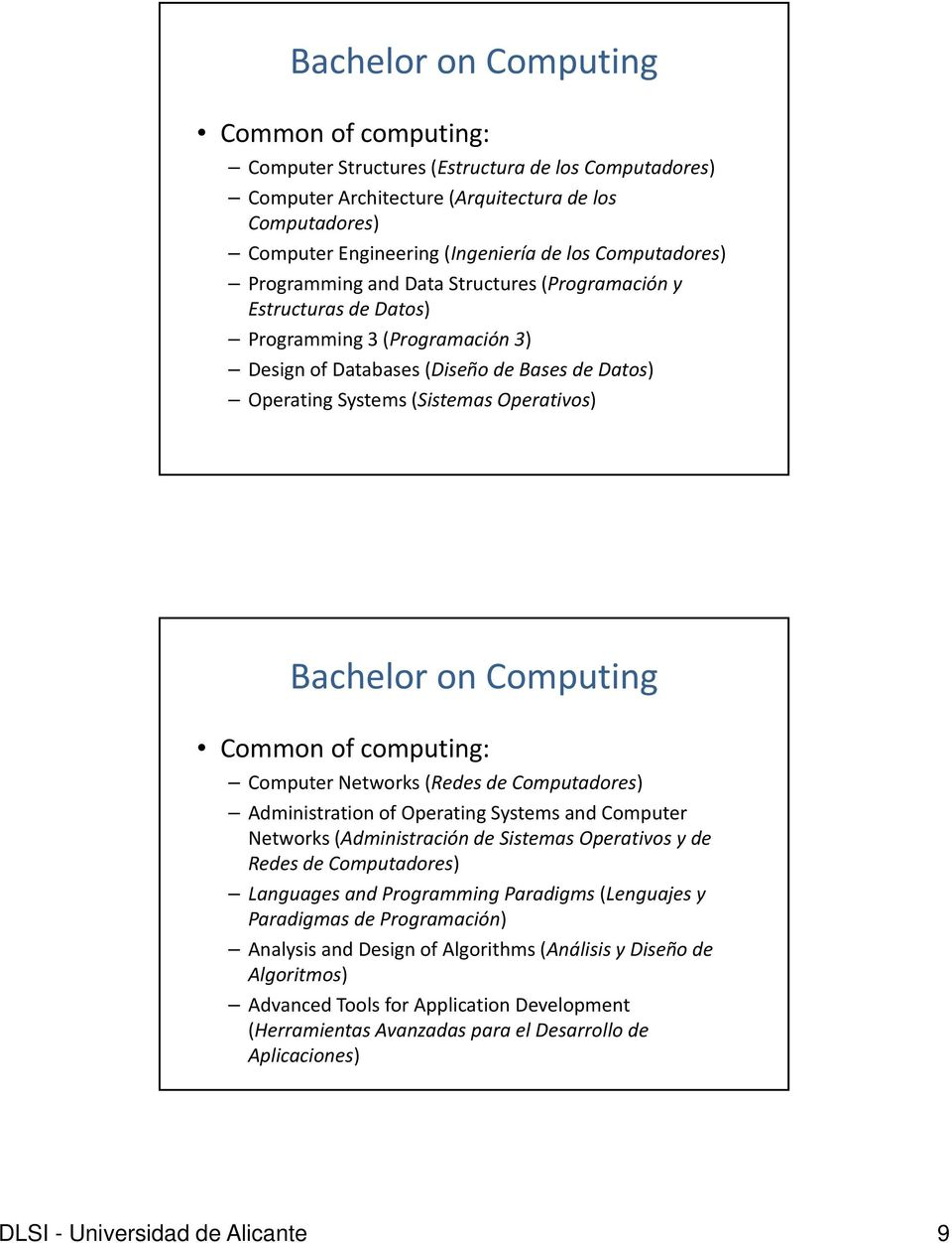 Operativos) Bachelor on Computing Common of computing: k ( d d d ) Computer Networks (Redes de Computadores) Administration of Operating Systems and Computer Networks (Administración de Sistemas