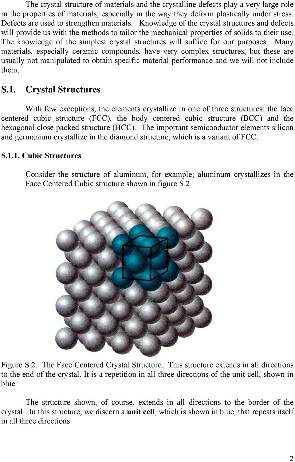 The knowledge of the simplest crystal structures will suffice for our purposes.