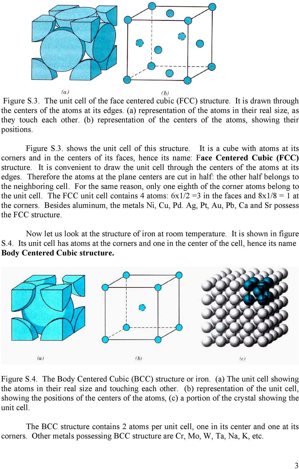 shows the unit cell of this structure. It is a cube with atoms at its corners and in the centers of its faces, hence its name: Face Centered Cubic (FCC) structure.