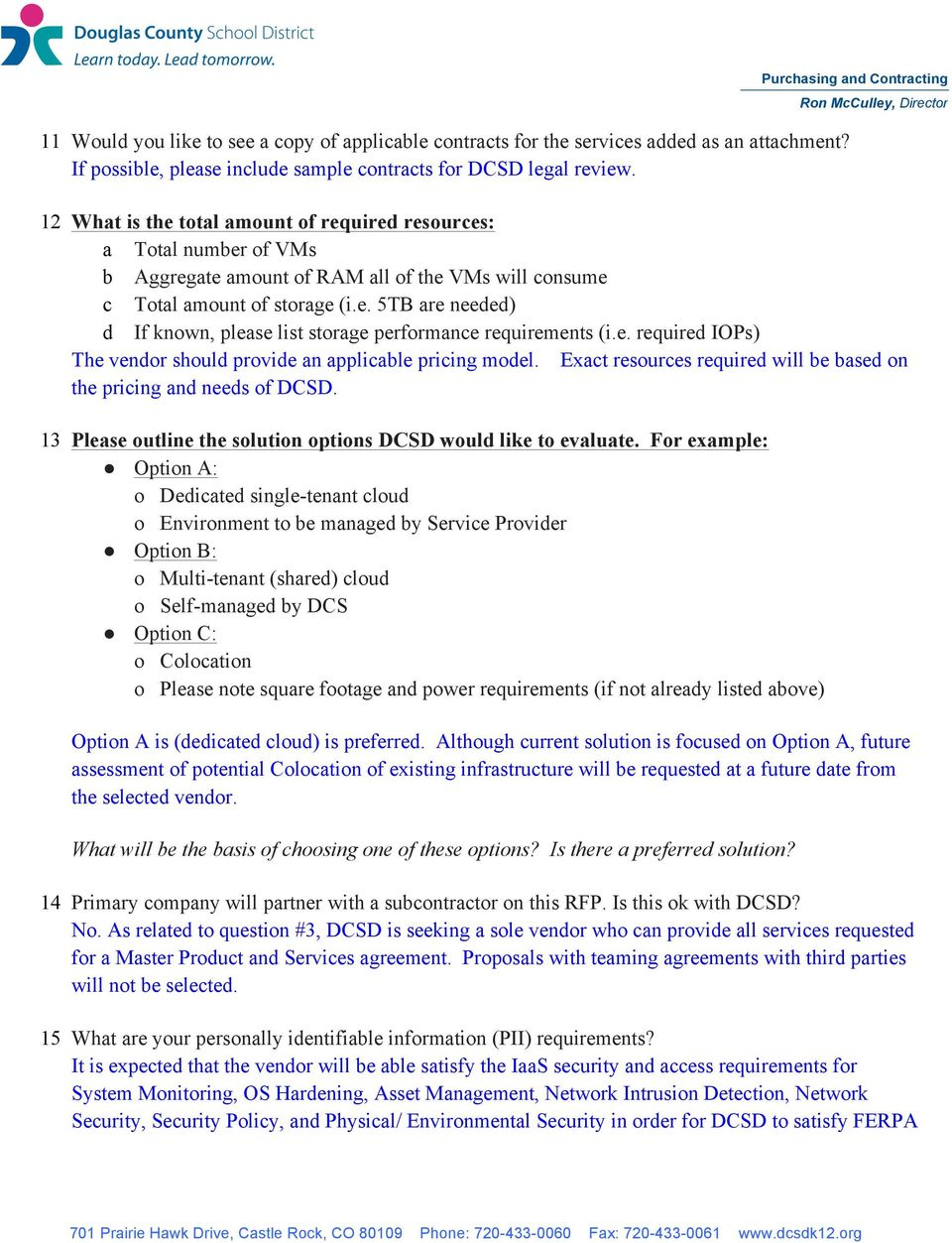 Vendor Questions Infrastructure Products And Services Rfp Pdf