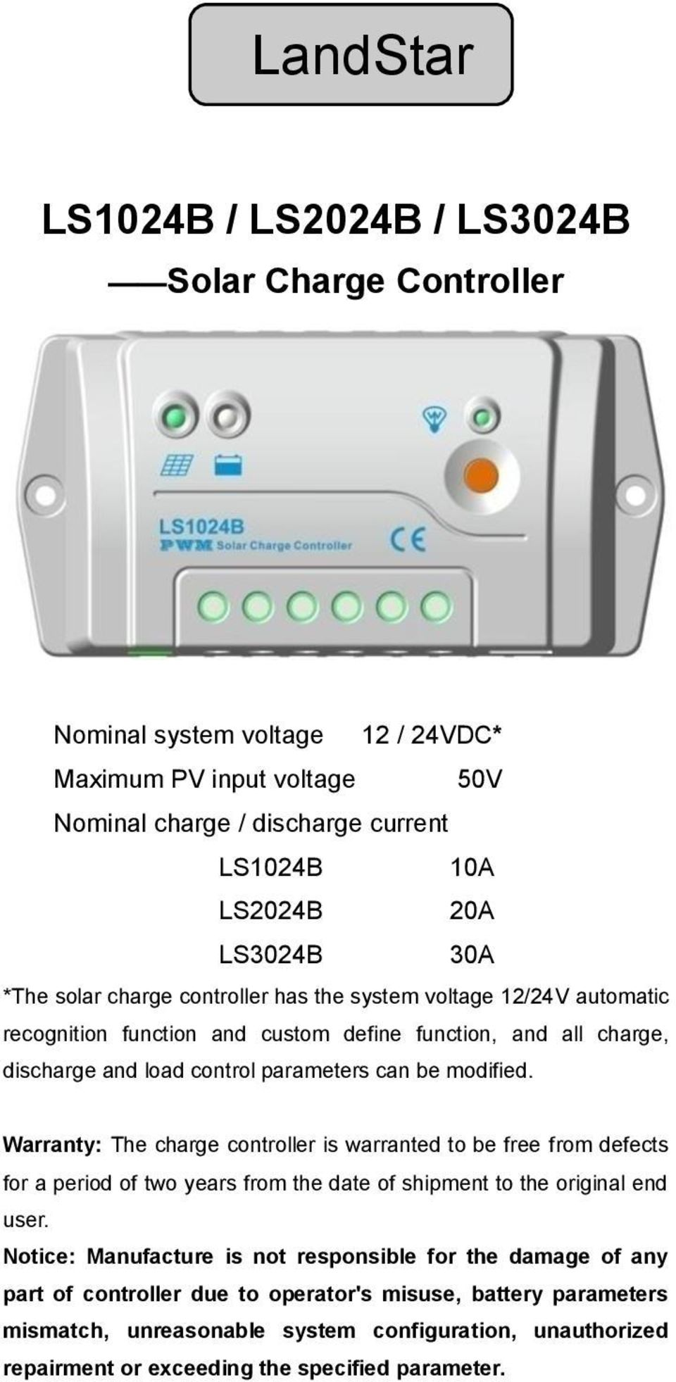 Pwm 12v 24v Solar System Charge Controller Remon Industrial Limited Ls1024b Ls2024b Ls3024b User Manual Pdf Warranty The Is Warranted To Be Free From Defects For A