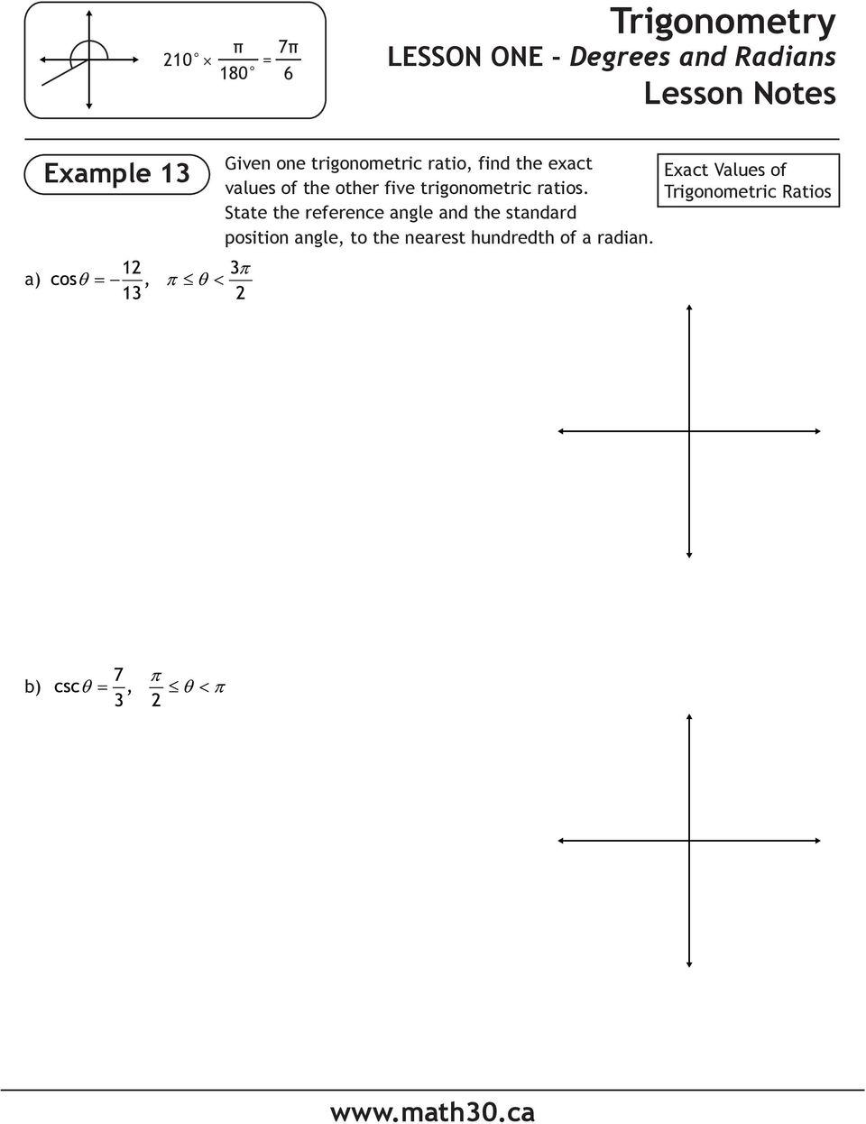 State the reference angle and the standard position angle, to the