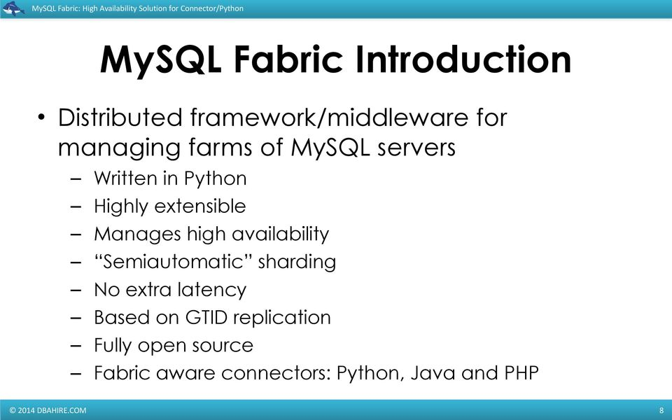MySQL Fabric: High Availability Solution for Connector/Python - PDF