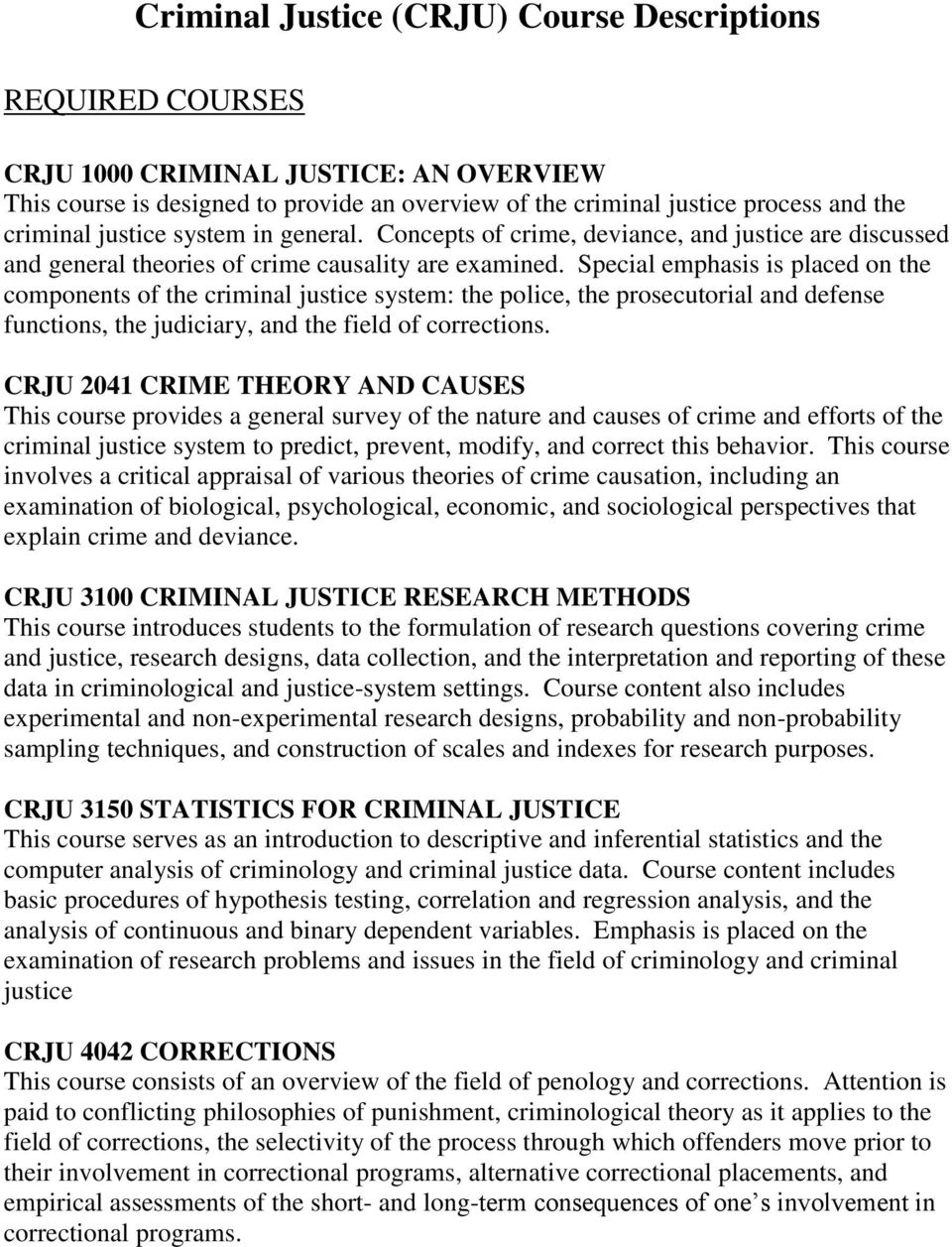 Special emphasis is placed on the components of the criminal justice system: the police, the prosecutorial and defense functions, the judiciary, and the field of corrections.