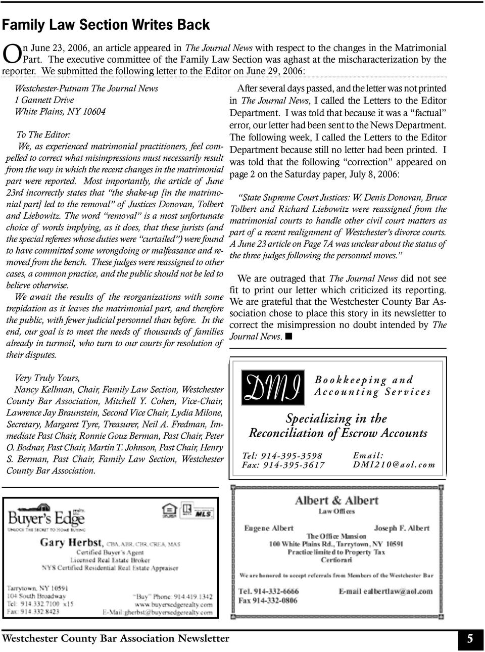 westchester county bar association newsletter Mother nature