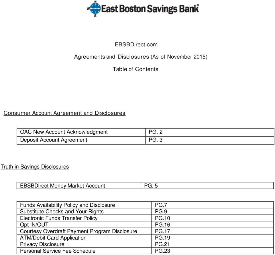 EBSBDirect com  Agreements and Disclosures (As of November 2015