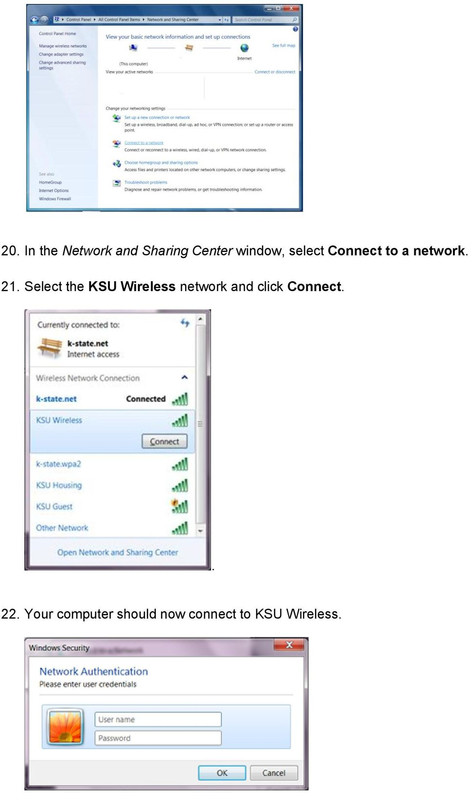 Select the KSU Wireless network and click