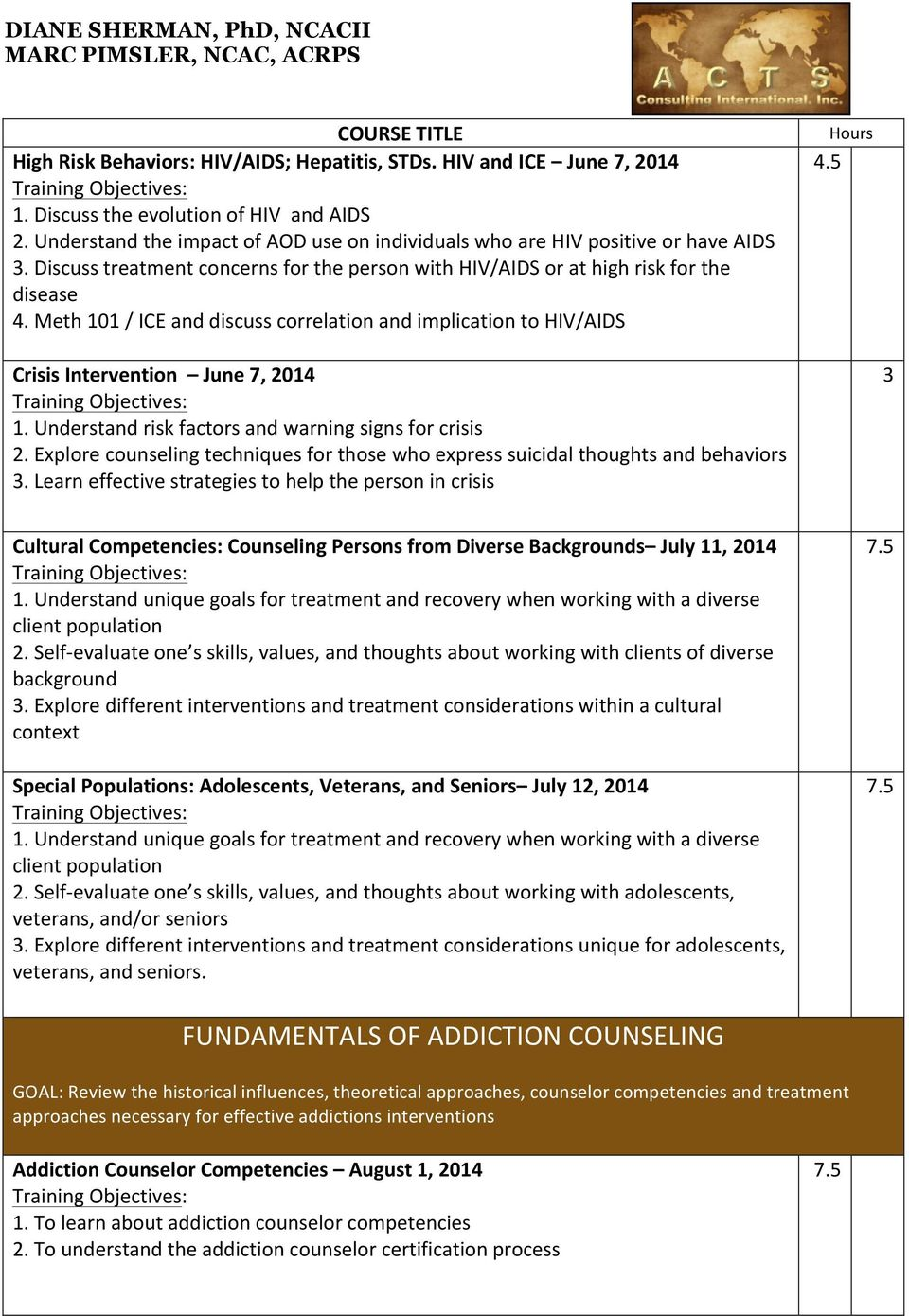 Addiction Counselor Competencies Addiction Counseling Practice