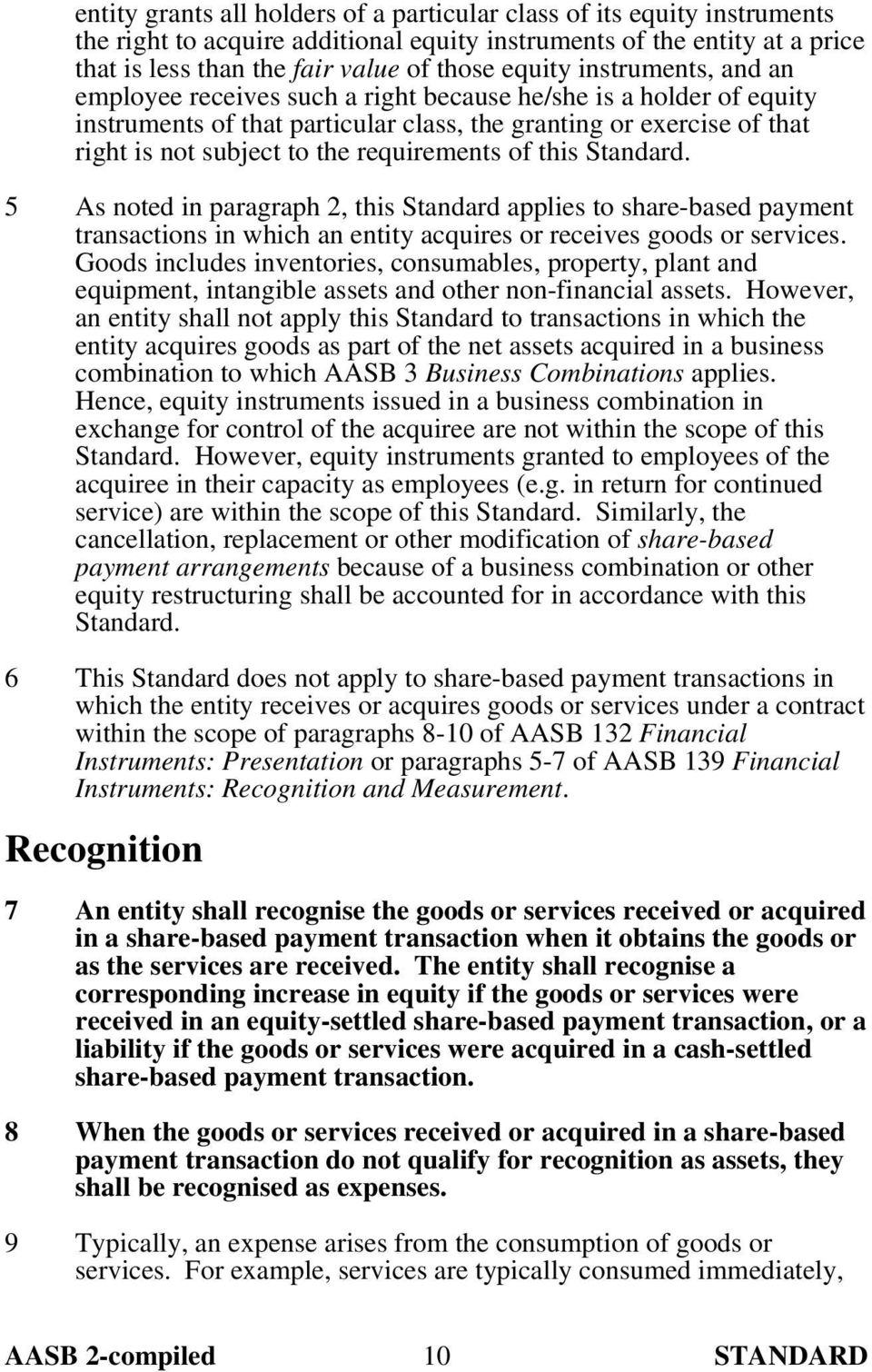 of this Standard. 5 As noted in paragraph 2, this Standard applies to share-based payment transactions in which an entity acquires or receives goods or services.