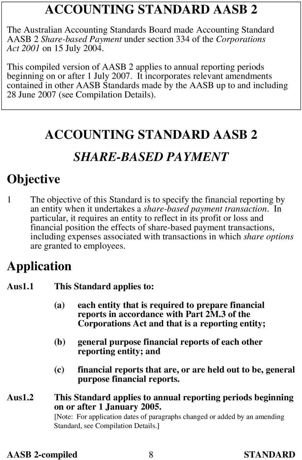 It incorporates relevant amendments contained in other AASB Standards made by the AASB up to and including 28 June 2007 (see Compilation Details).
