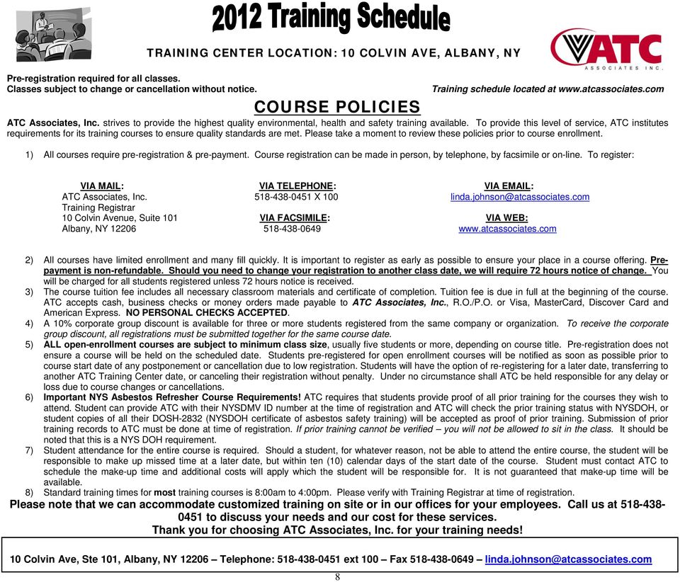 Training Center Location 10 Colvin Ave Albany Ny Pdf