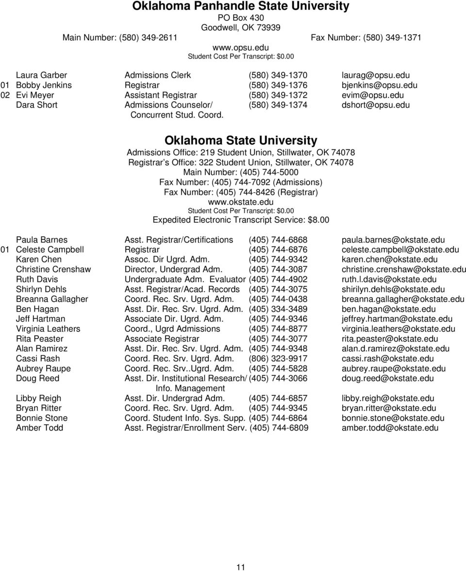 OACRAO DIRECTORY  Oklahoma Association of Collegiate
