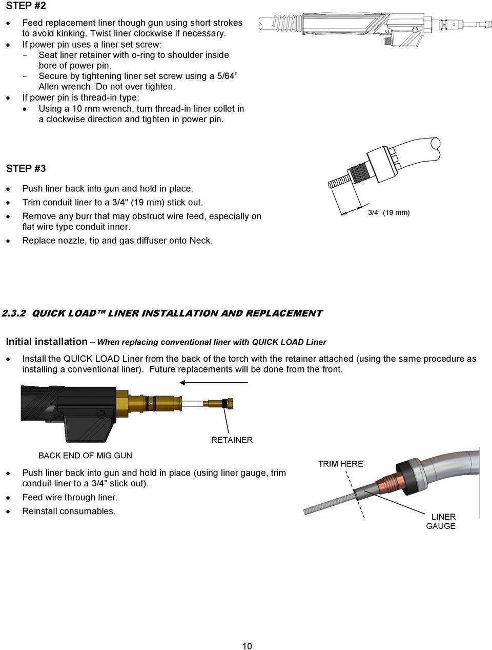 Technical Guide For Tough Gun G1 Series Robotic Air Cooled Mig Guns Rack Wiring Diagram If Power Pin Is Thread In Type Using A 10 Mm Wrench Turn