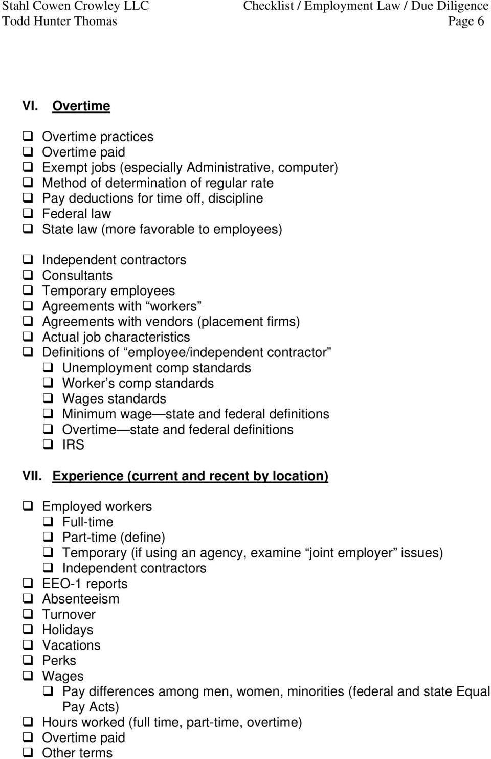 checklist of employment issues for due diligence employment law