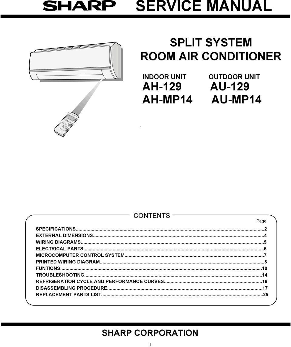 Service Manual Split System Room Air Conditioner Sharp Corporation 2005 International Wiring Diagram 6 Microcomputer Control System7 Printed