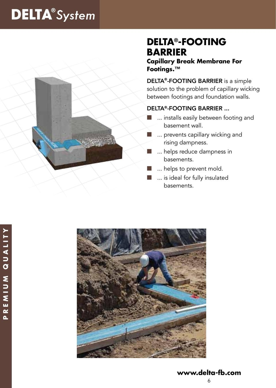 DELTA Premium Moisture Management Systems for Foundations  - PDF