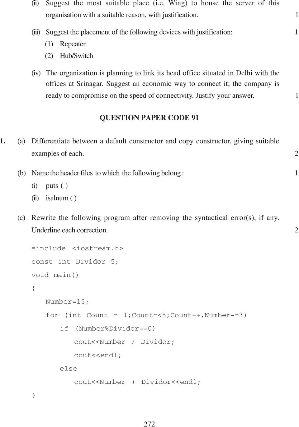 computer science question paper code 91 1 pdf