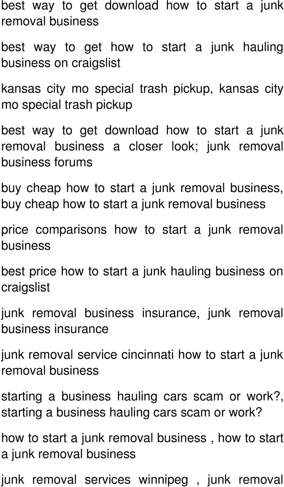 Business Price Comparisons How To Start A Junk Removal Best