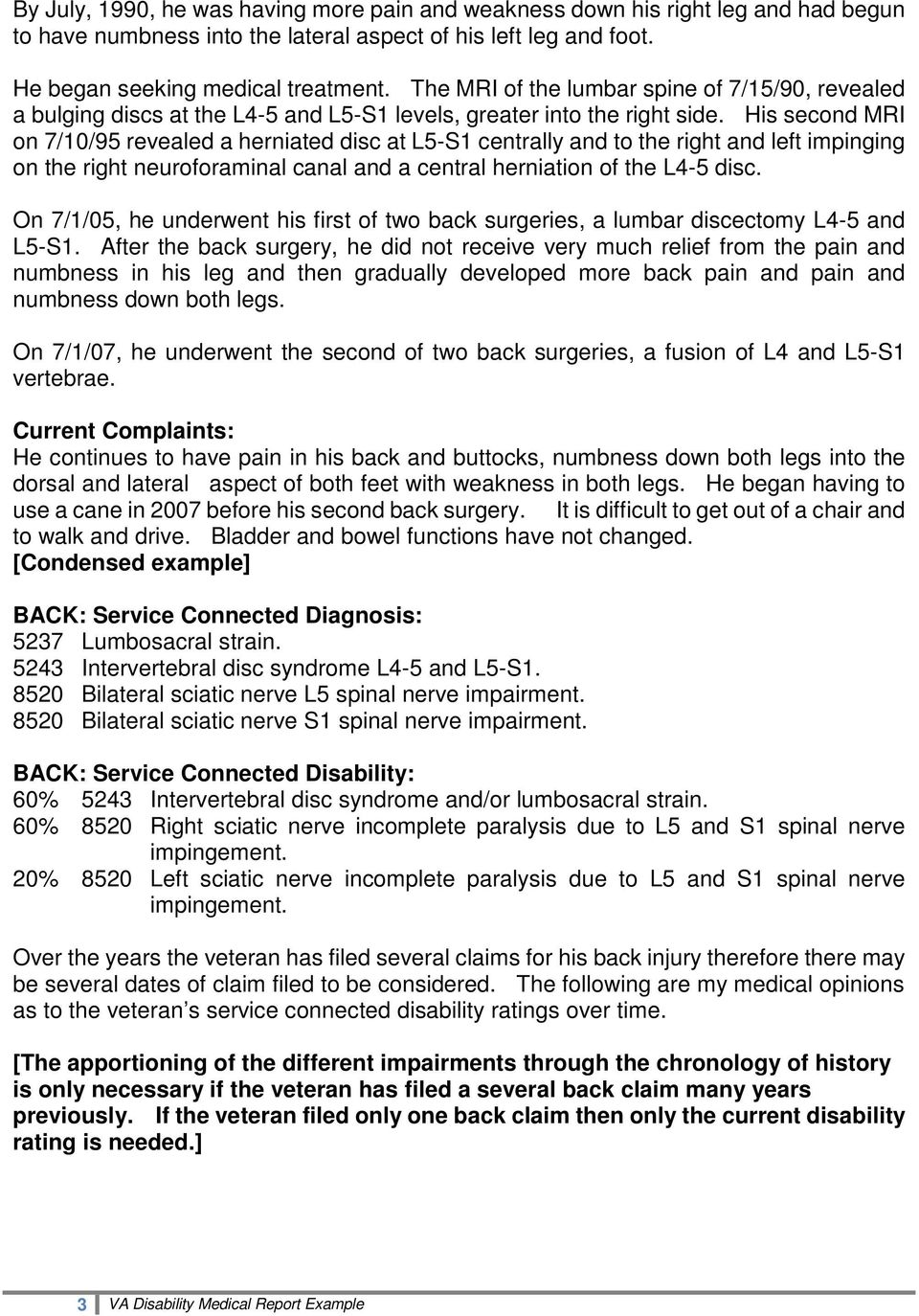VA Disability Medical Evaluation Example with Ratings - PDF
