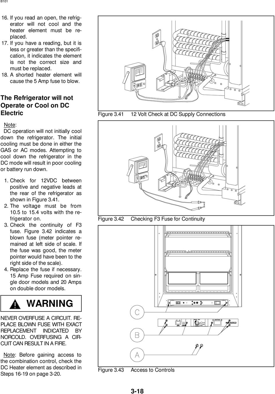 Norcold Repair Guide Models 442 443 452 453 462 463 482 Pdf Refrigerator Wiring Schematic A Shorted Heater Element Will Cause The 5 Amp Fuse To Blow