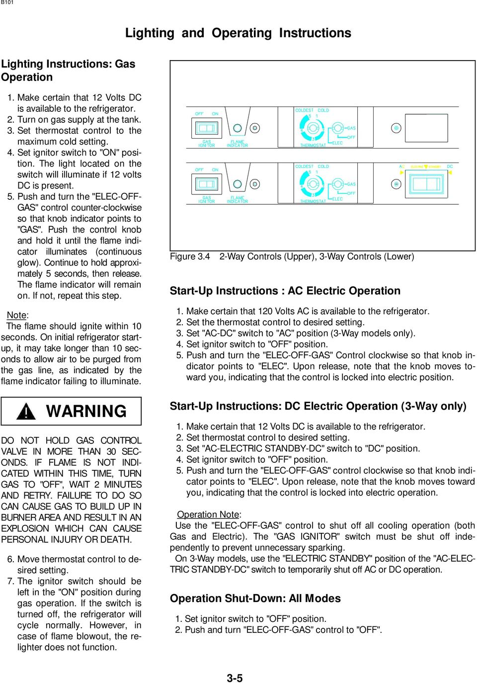 Norcold Repair Guide Models 442 443 452 453 462 463 482 Pdf 3 Way Switch Operation Push And Turn The Elec Off Gas Control Counter Clockwise So
