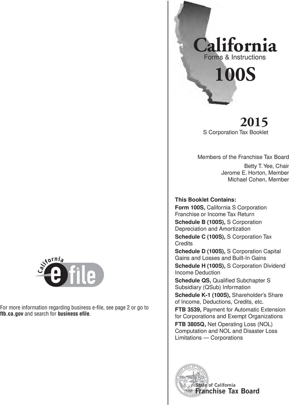 California 100s Franchise Tax Board Forms Instructions S