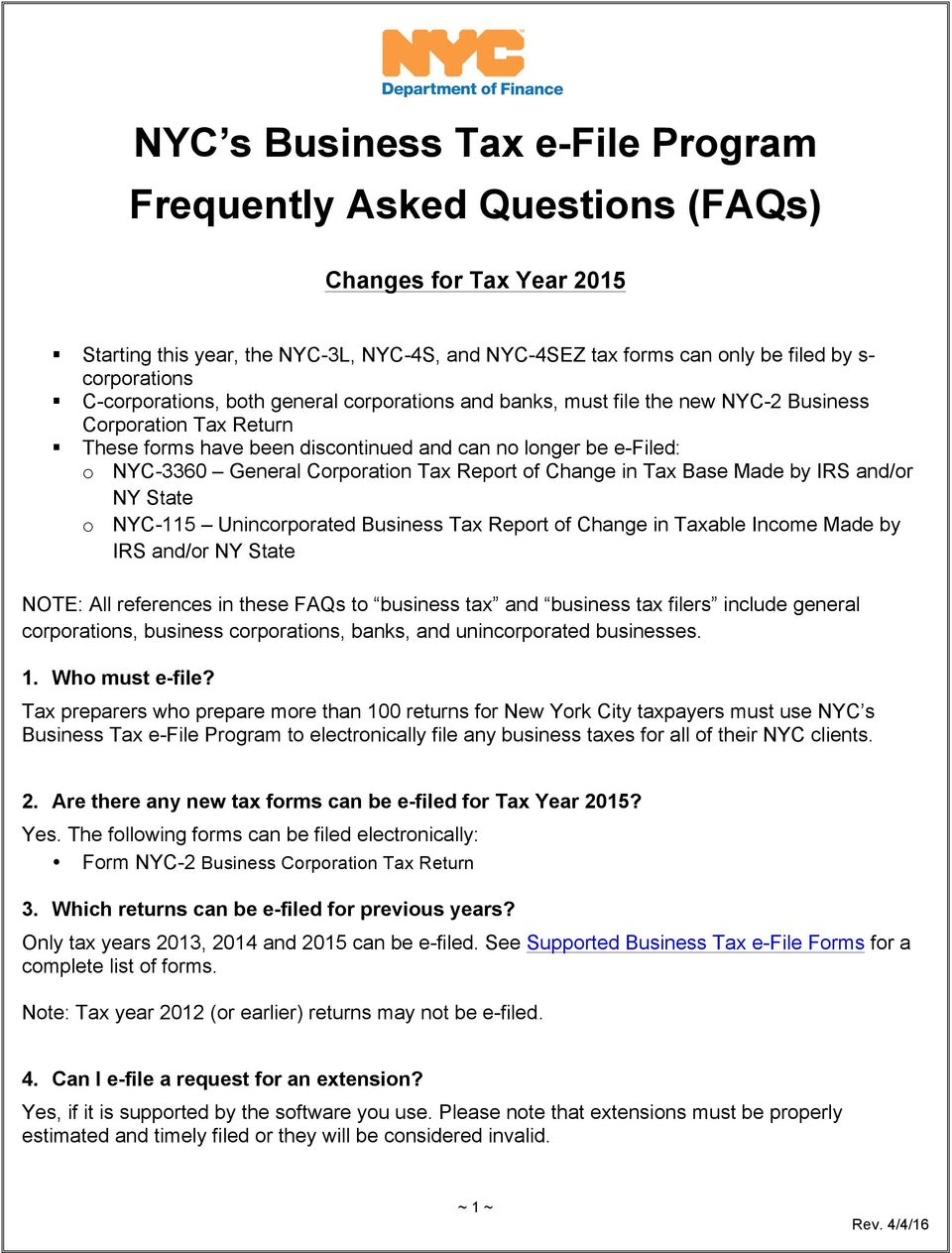 NYC s Business Tax e-file Program Frequently Asked Questions (FAQs ...