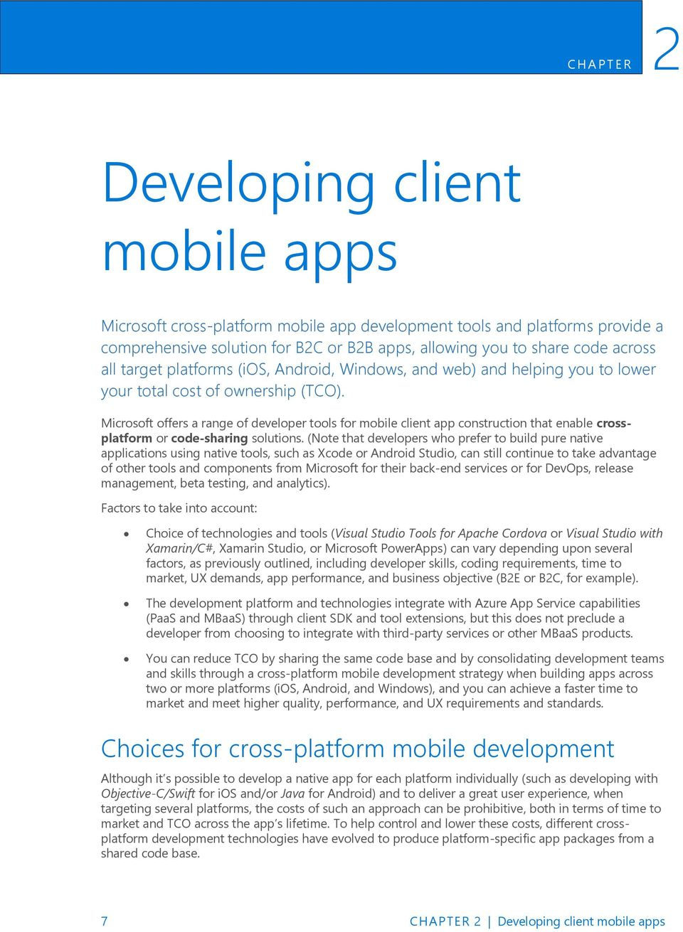 Microsoft platform and tools for mobile application