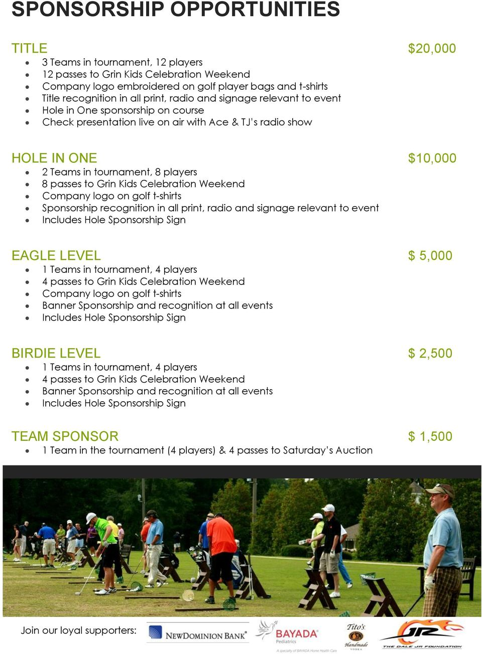 Grin Kids Celebration Weekend Company logo on golf t-shirts Sponsorship recognition in all print, radio and signage relevant to event Includes Hole Sponsorship Sign EAGLE LEVEL $ 5,000 1 Teams in