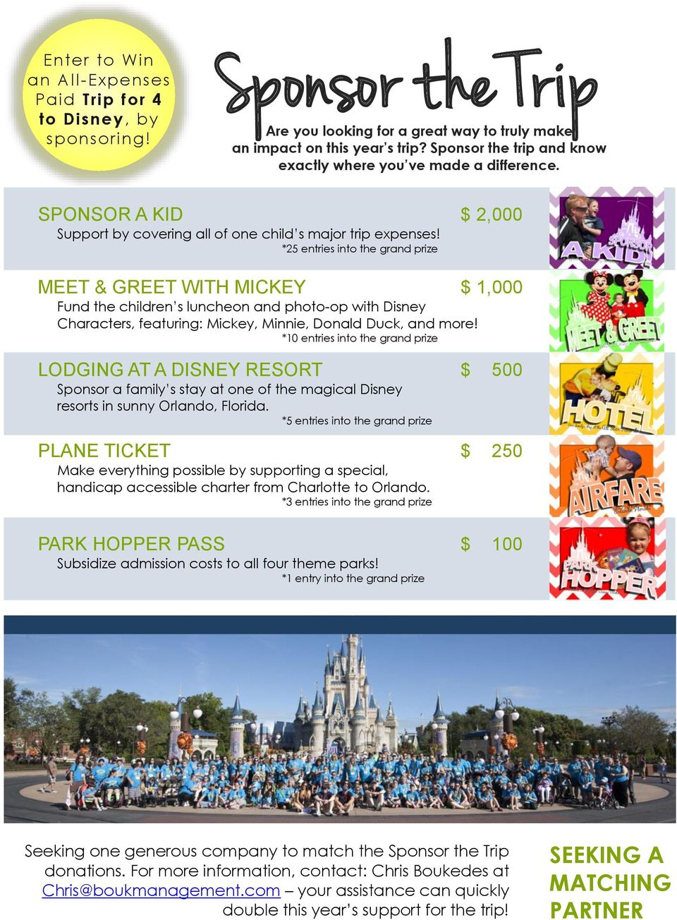 *25 entries into the grand prize MEET & GREET WITH MICKEY $ 1,000 Fund the children s luncheon and photo-op with Disney Characters, featuring: Mickey, Minnie, Donald Duck, and more!